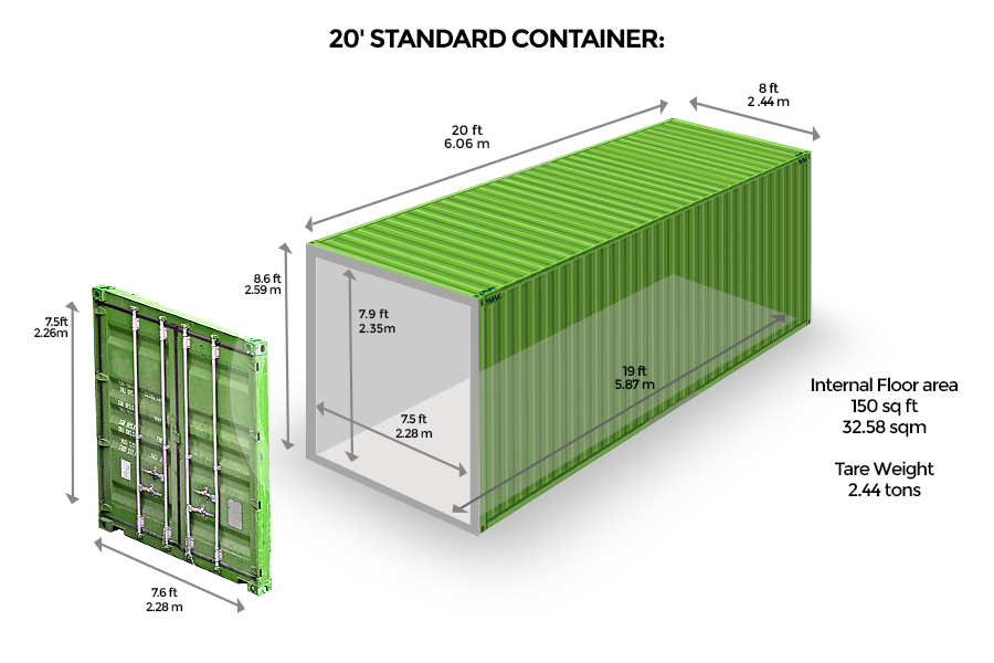 20' Standard <br> Container