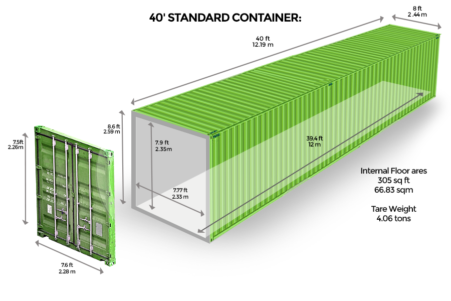 40' Standard <br> Container